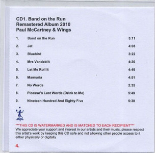 PAUL MCCARTNEY & WINGS - Band On The Run (CD-R)