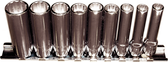 "92509 - 9 Piece 1/4"" Drive 12 Point Deep SAE Sockets"