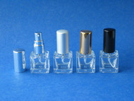Mini Square Cube Glass Atomizers w/Screw-on Sprayers - .23oz (7mL)