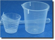 (1) Graduated Plastic Measuring Cup - 3oz / 100ml & Plastic Beaker - 1oz/30ml