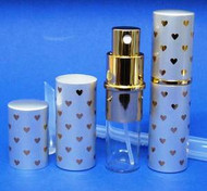 Silver w/Gold Hearts Metal Atomizer - 1/3oz / 10ml
