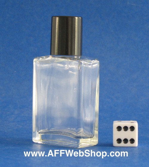 Photo of one ounce bottle with smooth-black plastic cap set at a angle