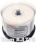CMC Pro (TY) WaterShield DVD-R 16X Glossy White Inkjet Hub Printable, 50-PK