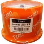 Titan DVD+R DL 8.5GB 8X White Inkjet Hub Printable, 50-Pack (T8891189)