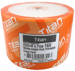 Titan DVD+R 4.7GB 16X White Inkjet Hub Printable, 100-Pack (T6991197)
