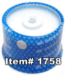 Spin-X  DVD-R 4.7GB 16X White Inkjet Hub Printable, 100-Pack