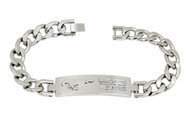 Mustang 50th Anniversary-Unisex 3D Raised Mustang 50 Years Logo Chrome On Chrome Bracelet
