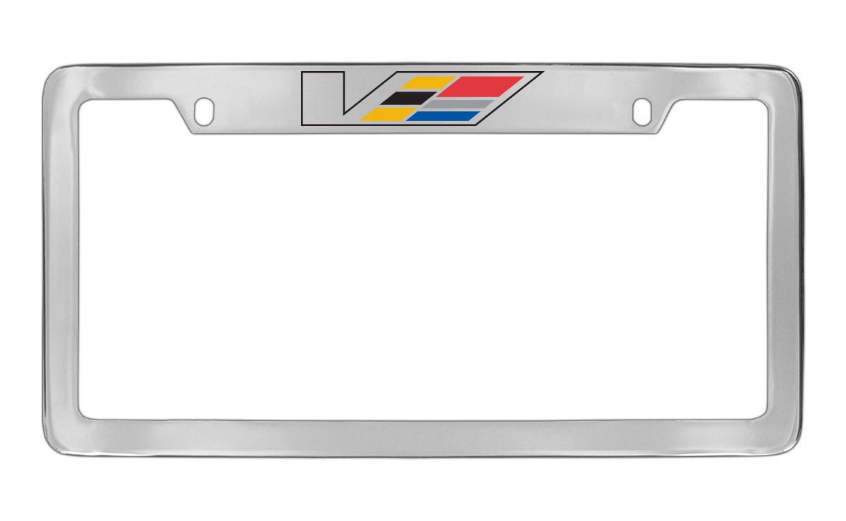 Cadillac V-Series Logo Black Coated Metal License Plate Frame Holder