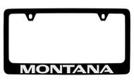 Pontiac Montana Black Coated Zinc License Plate Frame with Silver Imprint