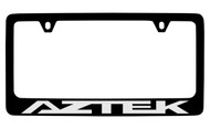 Pontiac Aztek Black Coated Zinc License Plate Frame with Silver Imprint