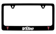 Pontiac Vibe Black Coated Zinc License Plate Frame with Silver Imprint
