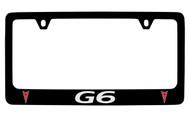 Pontiac G6 Black Coated Zinc License Plate Frame with Silver Imprint