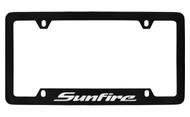 Pontiac Sunfire Bottom Engraved Black Coated Zinc License Plate Frame with Silver Imprint