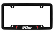 Pontiac Vibe With2 Red Logos Bottom Engraved Black Coated Zinc License Plate Frame with Silver Imprint