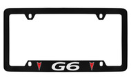Pontiac G6 with 2 Red Logos Bottom Engraved Black Coated Zinc License Plate Frame with Silver Imprint