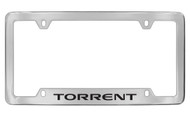 Pontiac Torrent Bottom Engraved Chrome Plated Brass License Plate Frame with Black Imprint