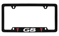Pontiac G8 with 2 Red Logos Bottom Engraved Black Coated Zinc License Plate Frame with Silver Imprint