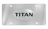 Nissan Titan Chrome Plated Solid Brass Emblem Attached To a Stainless Steel Plate