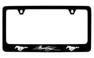 Ford Mustang with 2 Ponies Black Coated Zinc Frame with Silver Imprint