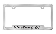 Ford Mustang GT Script Bottom Engraved Chrome Plated Solid Brass License Plate Frame Holder with Black Imprint