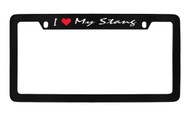 Ford I My Stang Script Top Engraved Black Coated Zinc Frame 4H with Silver Imprint Red Heart