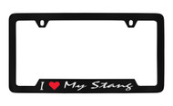 Ford I My Stang Script Bottom Engraved Black Coated Zinc Frame 2H with Silver Imprint Red Heart