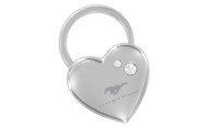 Mustang Chrome Heart Shape Keychain Embellished with dazzling Crystals (FOKCYH300-E)