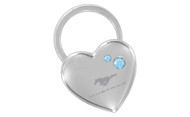 Mustang Chrome Heart Shape Keychain Embellished with Swarovski Crystals (FOKCYH-B300-E)