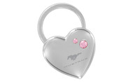 Mustang Chrome Heart Shape Keychain Embellished with dazzling Crystals (FOKCYH-P300-E)