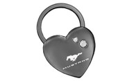 Mustang Black Nickel Heart Shape Keychain Embellished with dazzling Crystals