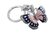 Butterfly Pink and Blue Butterfly with Clear Crystals Keychain