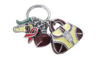 Chrome Plated Shopping Girl Theme Greenwarm Redwarm Magenta Cream Yellow Keychain