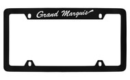 Mercury Grand Marquis Script Top Engraved Black Coated Zinc 4 Hole License Plate Frame with Silver Imprint
