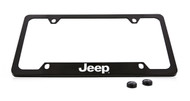 Jeep Wordmark Black Coated Zinc Bottom Engraved License Plate Frame Holder with Silver Imprint
