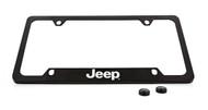 Jeep Wordmark Black Coated Zinc Bottom Engraved License Plate Frame Holder with Silver Imprint
