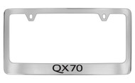 Infiniti Qx70 Chrome Plated Solid Brass License Plate Frame Holder with Black Imprint