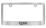 Infiniti Q60 Chrome Plated Solid Brass License Plate Frame Holder with Black Imprint