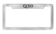 Infiniti Q50 Top Engraved Chrome Plated Solid Brass License Plate Frame Holder with Black Imprint