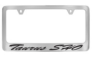 Ford Taurus Sho Script Chrome Plated Solid Brass License Plate Frame Holder with Black Imprint