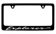 Ford Explorer Script Black Coated Zinc License Plate Frame Holder with Silver Imprint