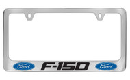 Ford F-150 with Dual Logos Chrome Plated Solid Brass License Plate Frame Holder with Black Imprint