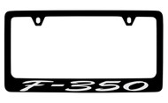 Ford F-350 Script Black Coated Zinc License Plate Frame Holder with Silver Imprint