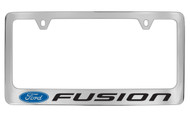 Ford Fusion with Logo Chrome Plated Solid Brass License Plate Frame Holder with Black Imprint