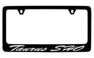 Ford Taurus Sho Script  Black Coated Zinc License Plate Frame Holder with Silver Imprint
