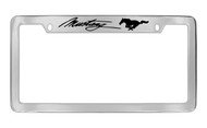 Ford Mustang Script with Dual Pony Logos Top Engraved Chrome Plated Solid Brass License Plate Frame Holder with Black Imprint