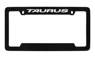 Ford Taurus Top Engraved Black Coated Zinc License Plate Frame Holder with Silver Imprint