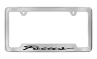 Ford Focus Script Bottom Engraved Chrome Plated Solid Brass License Plate Frame Holder with Black Imprint