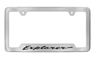 Ford Explorer Script Bottom Engraved Chrome Plated Solid Brass License Plate Frame Holder with Black Imprint