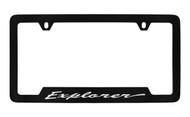 Ford Explorer Script Bottom Engraved Black Coated Zinc License Plate Frame Holder with Silver Imprint