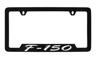 Ford F-150 Script Bottom Engraved Black Coated Zinc License Plate Frame Holder with Silver Imprint
